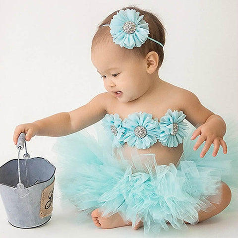 New Princess Baby Tutu Skirt with Matching Flower Headband and Bra Top Little Girl Tutus Photo Props Costume Outfit
