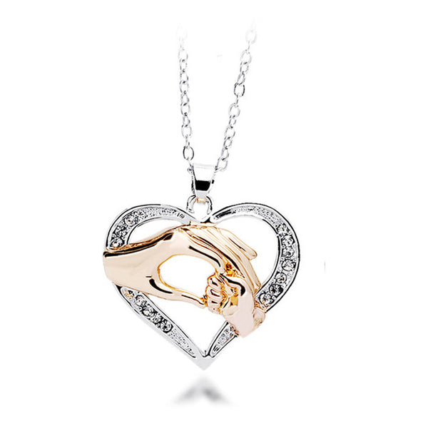 Mothers Day Gift Mother Baby Hand Holding Love Heart Pendant Necklace Rose Gold Mom Jewelry