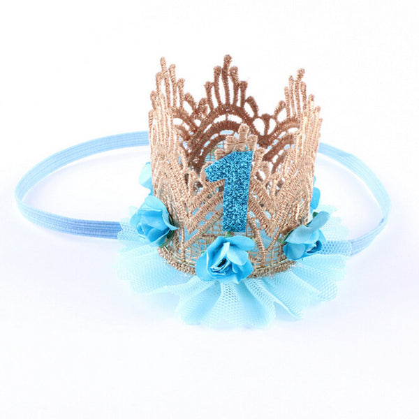 Birthday Crown Headband Flower Lace Gold Tiara Headband for Baby/ Kids Accessories