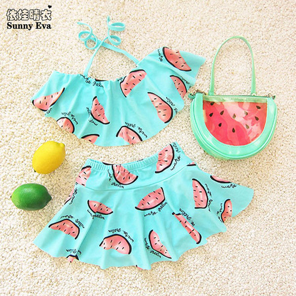 sunny eva bikini girl child summer two pieces swimsuit for girls swimming  watermelon kids bathing suit mermaid girls swimming