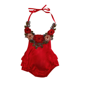 Spring Floral Baby Girl Romper Summer Sleeveless Backless Halter Ruffles Jumpsuit