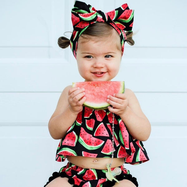 Summer Clothes Watermelon Tank Top+Baby Bloomers Shorts Headband