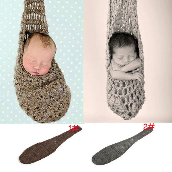 New Newborn Comfortable Handmade Knitted Hammock Cocoon Photography Props Infant Toddler Crochet Costume Outfit