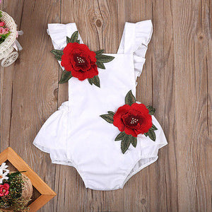 Summer Baby Girl Floral Romper Backless Jumpsuit  0-24M