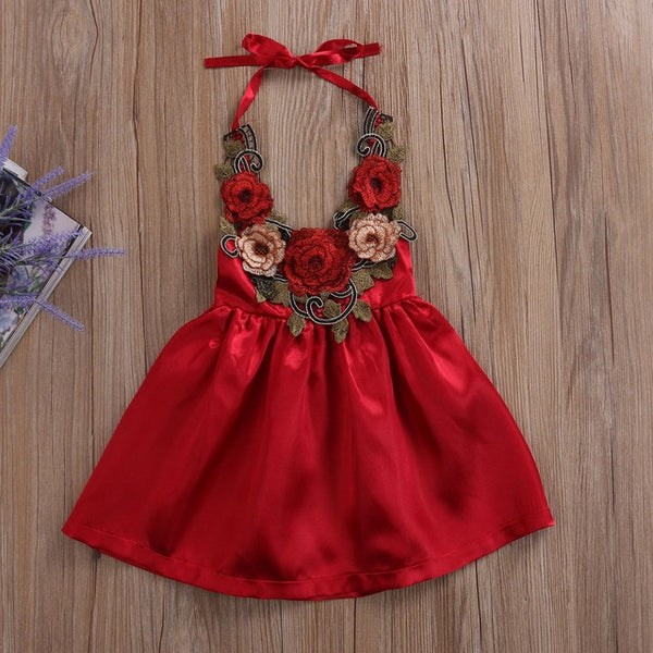 Summer Baby Girls 3D Rose Flower Dress