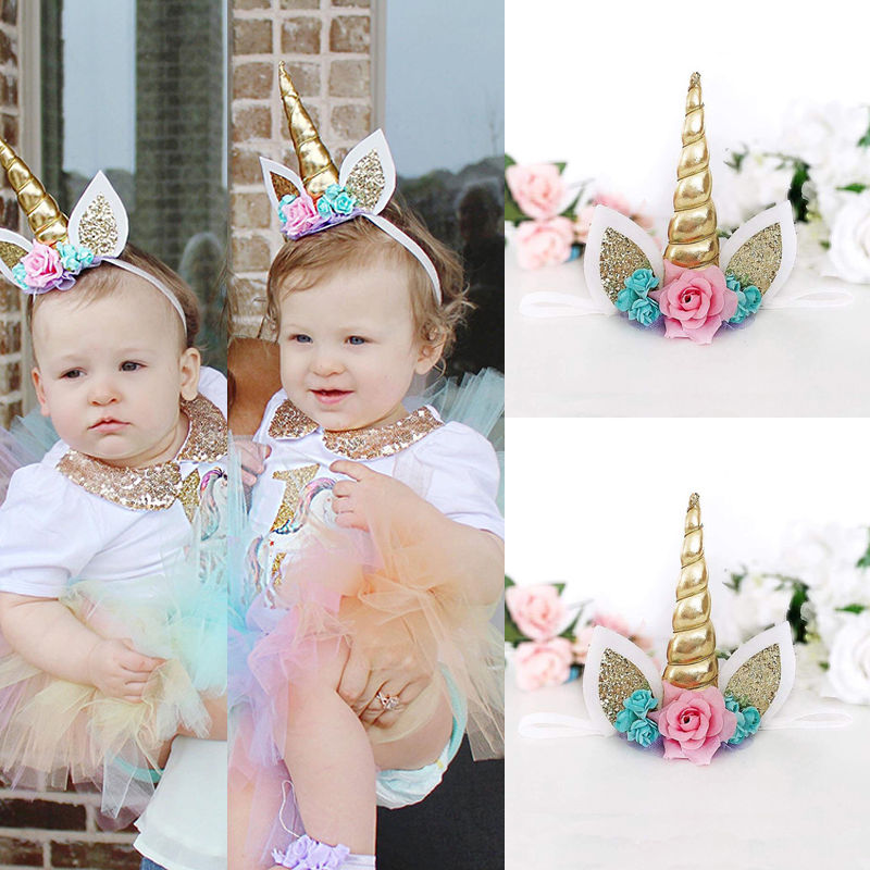 Magical Gold Unicorn Horn Head Party Kid Headband Fancy Dress Cosplay Decorative Photography Props