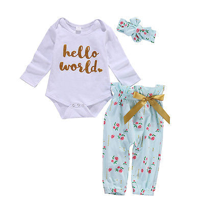 Baby Girls Clothes Set Casual Flower Bodysuit Babygrows Baby Girl Clothing Outfits