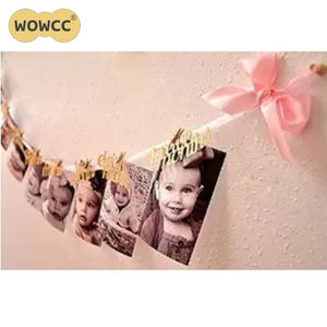 DIY Monthly Paper One Year Old Baby Photo Booth Birthday Banner String Flag Accessories Photo Frame Photos Album Party Decor