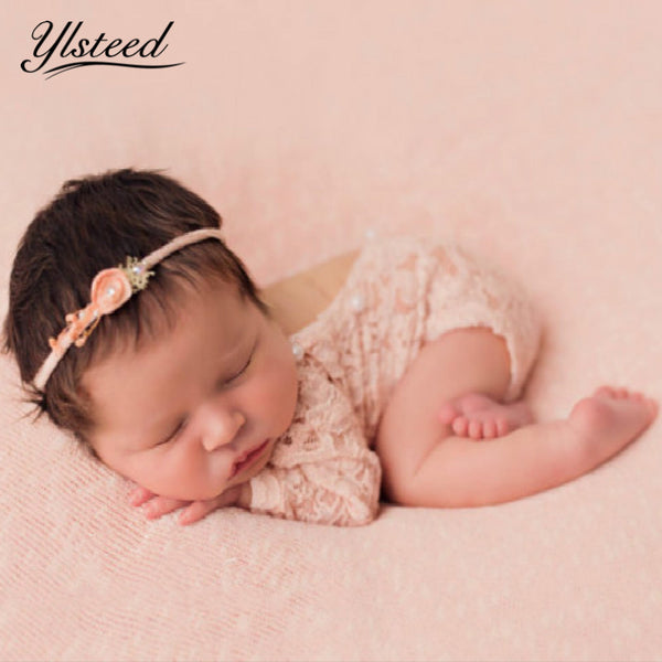 Newborn Lace Romper Bloomer Baby Girl Pearl Pink Romper Newborn Photography