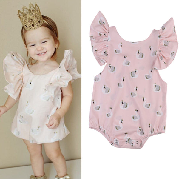 New Arrival Girls Sleeveless Rompers  Kids Baby Girl Toddler Pink Swan Romper Jumpsuit