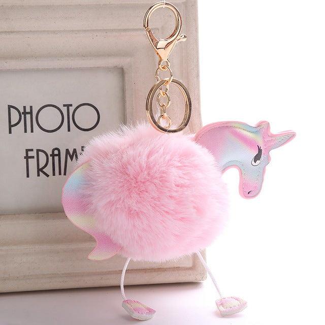 High Quality Pompom Colorful Unicorn Keychain Keyring Handbag Pendant MANY STYLES