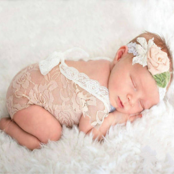 Newborn Lace Rompers Baby Photography Props Bow Princess Jumpsuit. 4 colors
