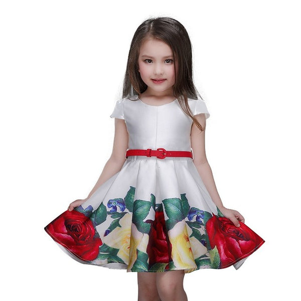 Baby Girl Princess Dress Kids Stripe Sleeveless Dresses for Toddler Girl Children European American Fashion Clothing Free Belt