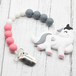NEW Silicone Unicorn Clip Wooden Beads Silicone Teether Baby Pacifier