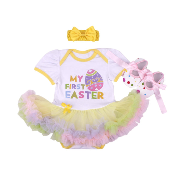 My 1st Easter Baby Girl Clothing Sets Eggs Colorful Tutu Dress+Walkers+Headband 3pcs Suits Ropa De Nina Girls Newborn Clothes