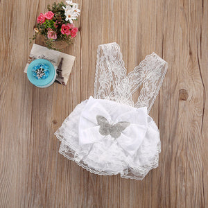 NEW Newborn  Infant Toddler Baby Girls Clothing Lace Bowknot Baby Rompers Pink and White 0-18M