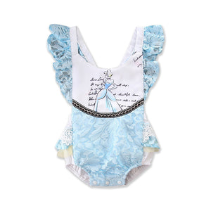 Light Blue Lace Infant Baby Girls Sleeveless Ruffles  Beauty Romper Lace Clothes Baby Clothing