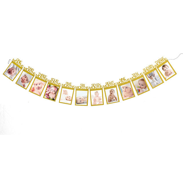 Monthly Paper 1St One Year Old Baby Photo Booth Birthday Banner String Flag Accessories Photo Frame Photos Album Party Decor