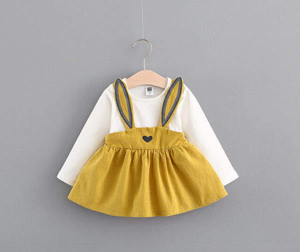 Baby Girls Dress Girls 0-5 Years Rabbit Bunny Dresses 2017 New Autumn Fashion Children Clothing Cotton Infant Girls Dresses