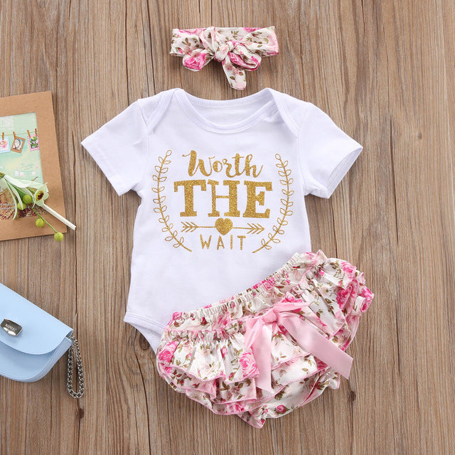 Newborn Baby Girls Clothes Playsuit Bodysuit +Pants+ Headband Floral Coming Home Outfit Set 0-24M  3 pieces
