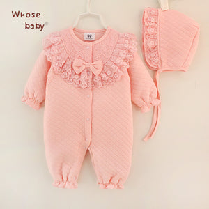 Blush Pink  Lace Bow Hat Romper Cotton Kids Girls  2Pcs for Newborns to Infant