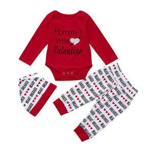 High Quality 3Pcs Newborn Infant Baby Boy Letter Romper +Pants+Hat Valentine's Day Outfits Set Mommy's little Valentine