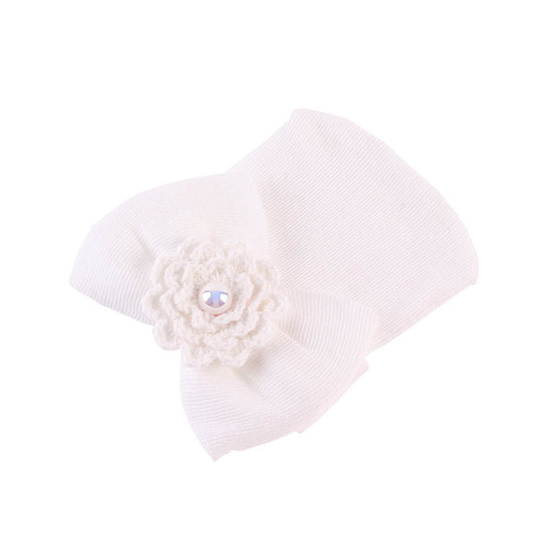 Newborn Baby Cap Striped Soft Cotton Hospital Hat Pretty Bowknot Flower  Beanies Girl Caps Hats Accessories