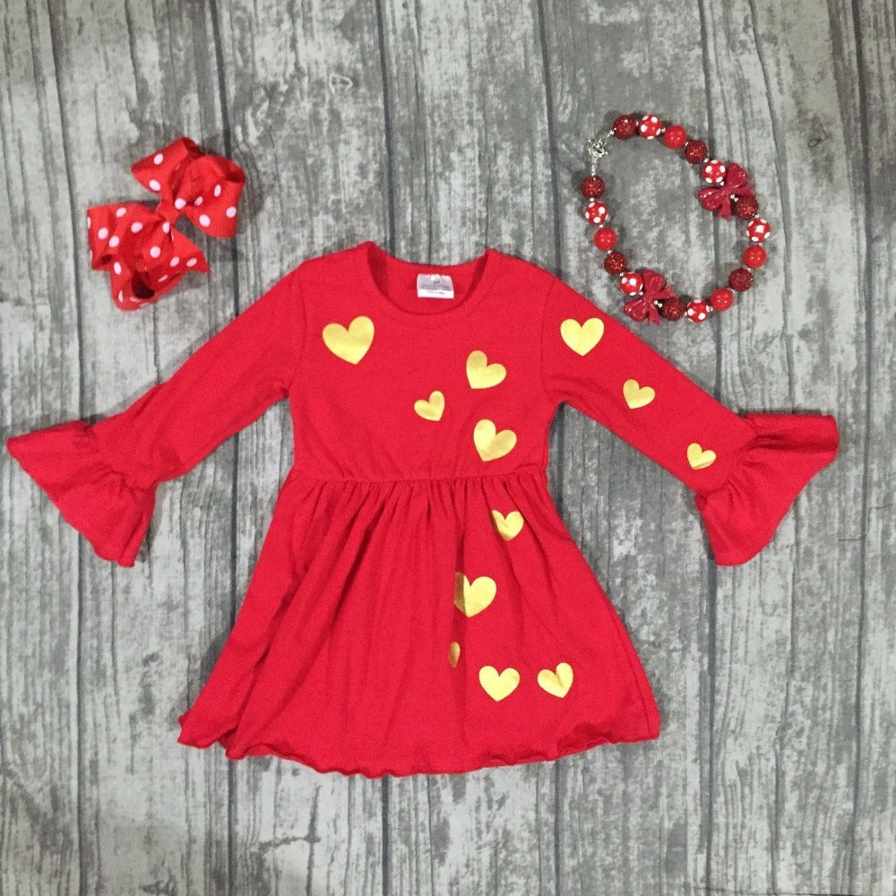 BabyGirl Girl Valentine's day  Red dress kids golden heart dress girls boutique dress with accessories