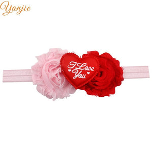 Chic Shabby Chiffon Flowers Heart I Love You Valentines Elastic Headband Kids Girl  Hair Accessories