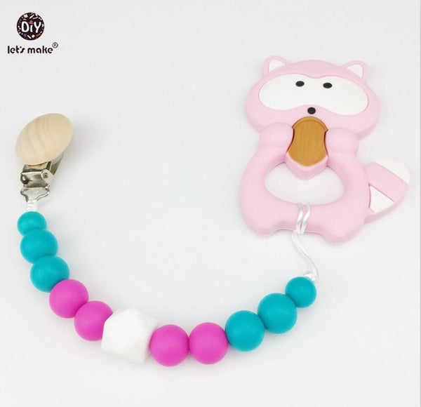 Silicone Raccoon Clip Chewable Beads Baby Teether Food Grade Silicone