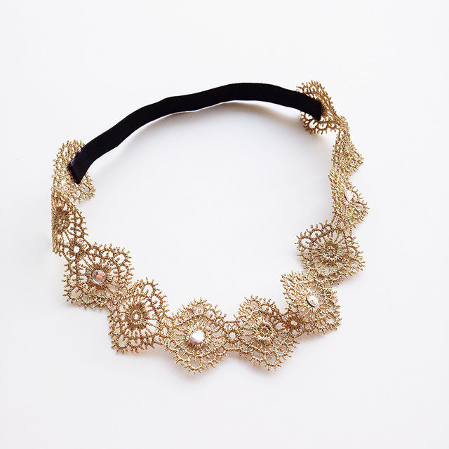 Gold Lace Hollow Hairbands Newborn Girls