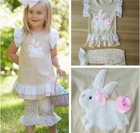 New Arrival Girls Clothing Set Beige Color Bunny Pattern Butterfly Sleeve Top Print Pant For Easter Kids Outfits Clothes