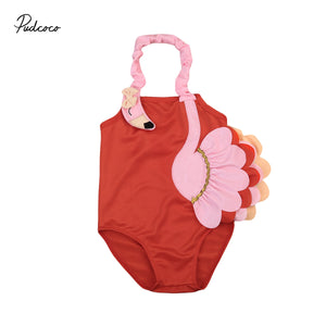 Toddler Kids Baby Girls Swimsuit 3D Flamingo Bikinis Swimwear Swimming  Ruffle Halter Bathing Suit One-Piece Romper