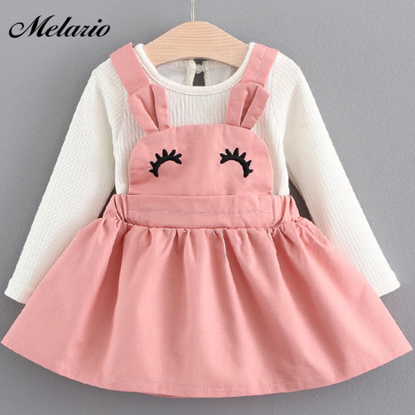 Melario Baby Dresses 2018 New Spring Autumn Baby Girls Clothes Cartoon Printing Girls Party Dress Princess Dress Newborn Dress