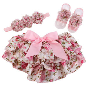 Baby Bloomers Floral Lace Ruffled Pants Baby Girls Rosette Headband Barefoot Sandal Set