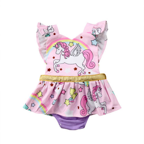 Baby Girls Unicorn Ruffles Tutu Romper