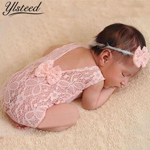 Newborn Photography Props Backless Hollow Bowknot Lace Romper  with Headband