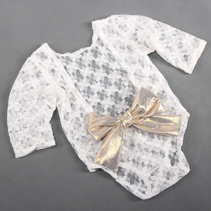 Photography Props Baby Newborn Long Sleeve Lace Romper Backless Bowknot