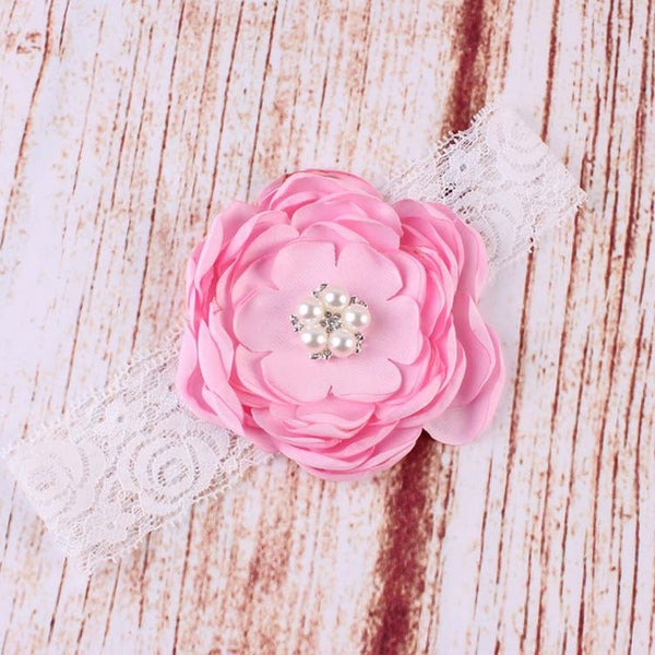 Newborn Sparking Rhinestone Headband Baby Girls Headband Flower Lace Pearl Toddler Kids Hair Accessories (Different Colors)