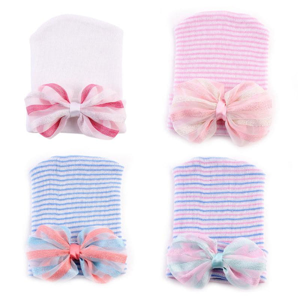 Baby Hat Caps Hospital Take Home Baby Hat Newborn Gift  Bowknot  0 to 3 M