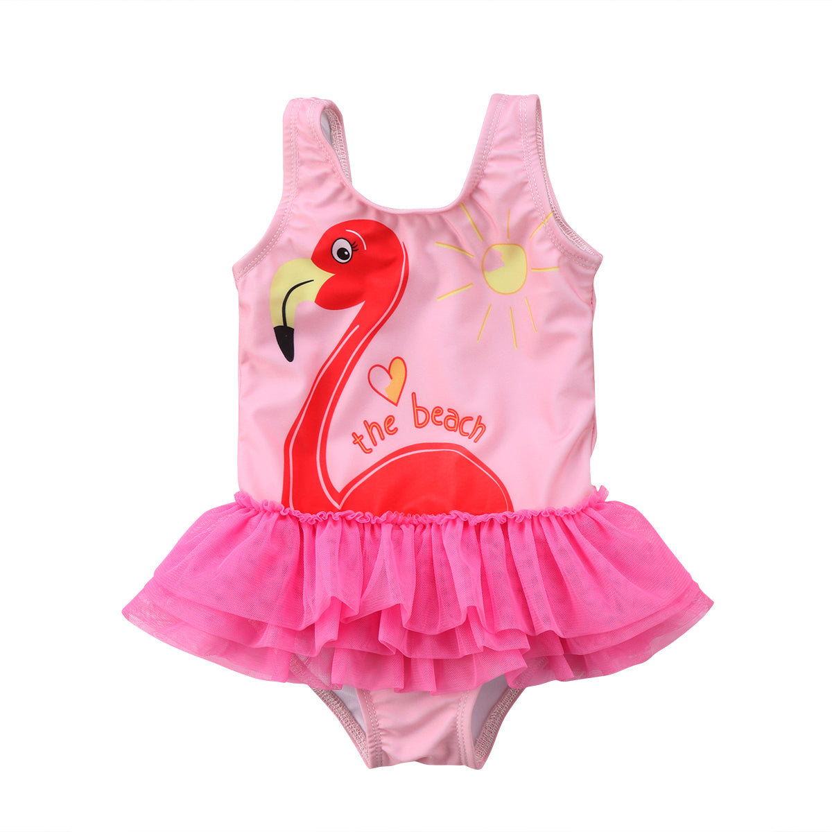 Pudcoco Beach Swan Lace Pink Kids Baby Girl Sleeveless Bikini Pink Tankini Swimwear Swimsuit Beachwear