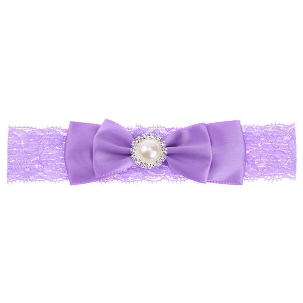 Bowknot Hair Lace Headbands Girls  Ribbon Hair Accessories pearl rhinestones