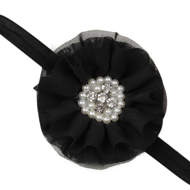 Baby Girls Headbands Rhinestone Flower Hair Accessories Chiffon Flower Hair Band