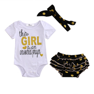 Girls BabyGirl Briefs Rompers Cotton Dot Ruffle Shorts Clothes Outfits Set