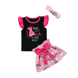 Toddler Baby Girl Outfit Clothes Top T-shirt + Rainbow Skirt Dress Set