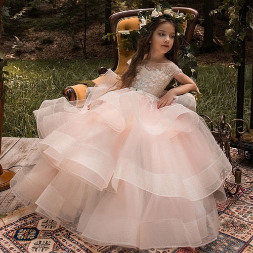 Lauren. Little Girls Luxury Lace Applique Princess Dress