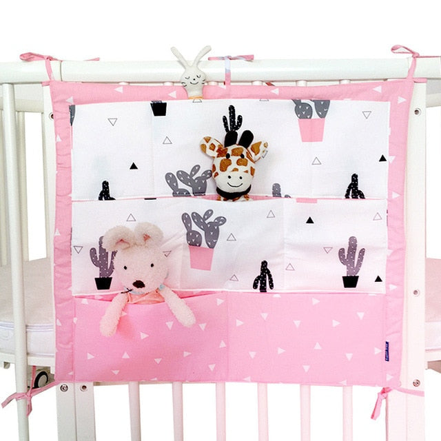 Crib Baby Bed bumper Hanging Storage Bag Multi-functional  55*60cm