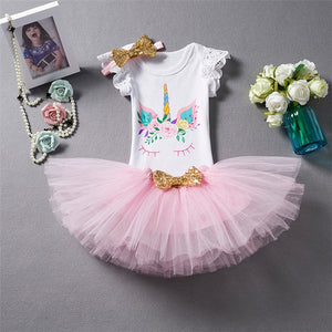 One Year Baby Girl Clothes Unicorn Dress Birthday 1 Year Tutu Dresses Toddler Girl Party Outfits Costume