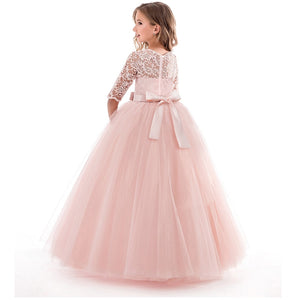 Princess Summer Long Dress For 6-14 Years Children Girls Pink Lace Costume  Birthday Dresses Dresses