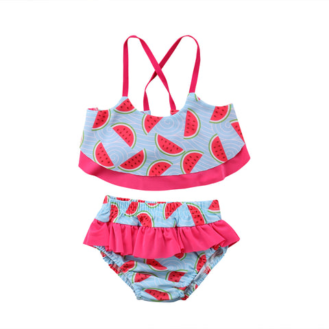 db8cef044d Toddler Kids Baby Girls Set Summer Infant Watermelon Clothes Tops+Shorts  2Pcs Outfits